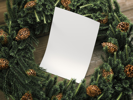 White sheet of paper among Christmas decorations. 3d rendering