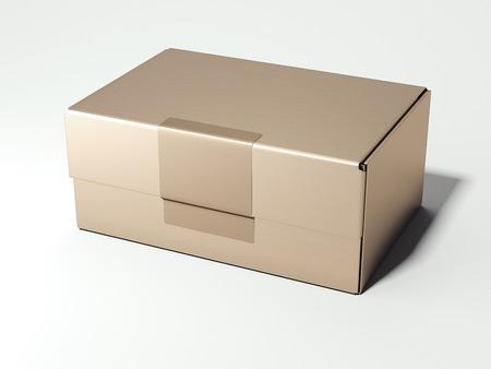 Golden package. 3d rendering