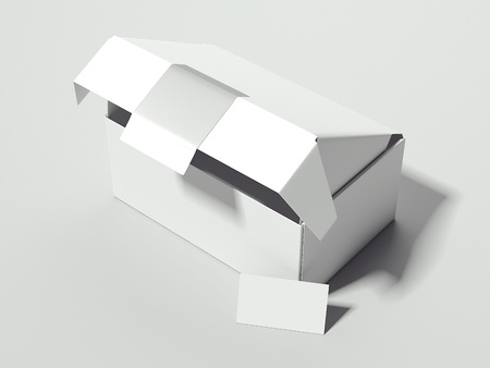 White opened box with card. 3d rendering