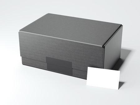 Black package with white card. 3d rendering