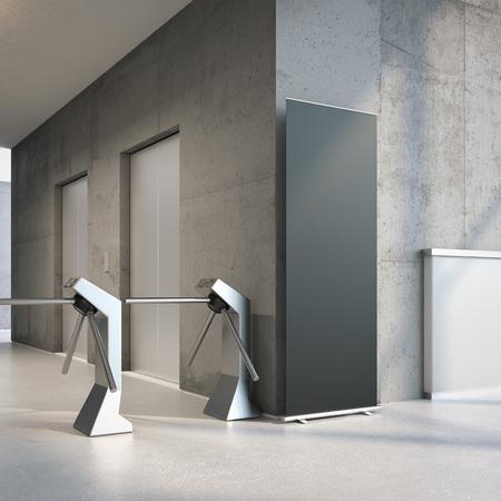 Bannière rollup noir à l'entrée de l'immeuble de bureaux. Rendu 3D Banque d'images - 88035500