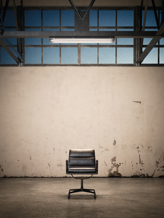 Chair at an abandoned factory. 3d rendering Banco de Imagens