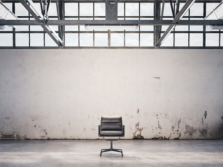 Black chair at an abandoned factory. 3d rendering