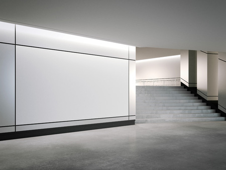 Blank banner on the silver wall. 3d rendering Stock Photo