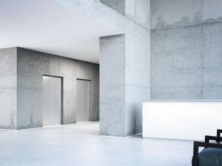 Edificio moderno con ascensori. Rendering 3D Archivio Fotografico - 88035644