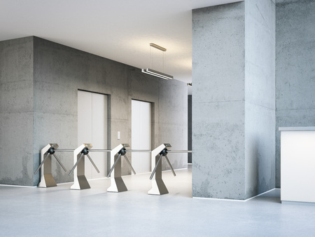 Turnstiles at the entrance to a modern office building. 3d rendering