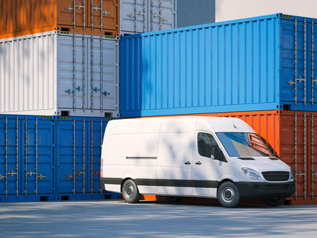 White minivan near storage containers. 3d rendering Imagens