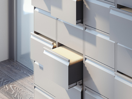 File cabinets in the office interior. 3d rendering