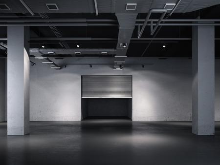 Opening door to the underground garage. 3d rendering