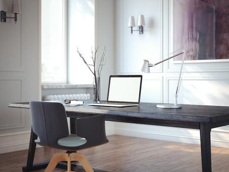 Interni classici con ambienti di lavoro moderni. Rendering 3D Archivio Fotografico - 88035835