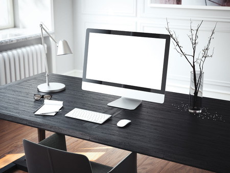 Luogo di lavoro moderno con computer. Rendering 3D Archivio Fotografico - 88035908