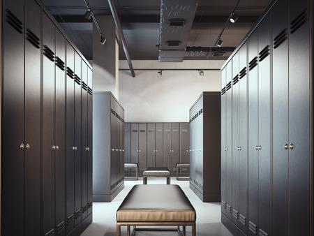 Stylish locker room. 3d rendering Standard-Bild