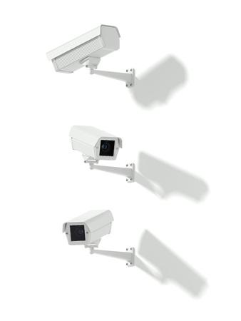 Three white street cameras. 3d rendering Stock Photo