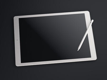 Big white drawing tablet. 3d rendering Imagens