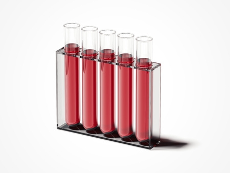 Vijf testmengers met rode vloeistof. 3D-rendering