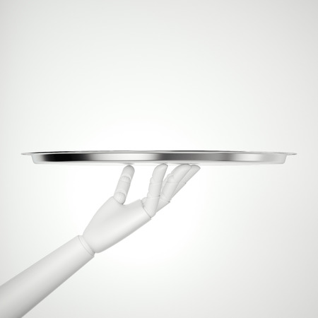 White robot hand with silver tray. 3d rendering