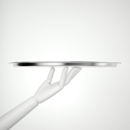 Witte robothand met zilveren dienblad. 3D-rendering