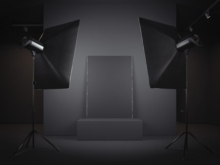 Dark photo studio with picture frame. 3d rendering Stok Fotoğraf