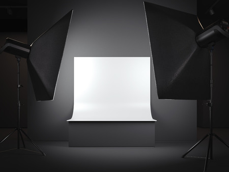 Photostudio with a background for a subject survey. 3d rendering