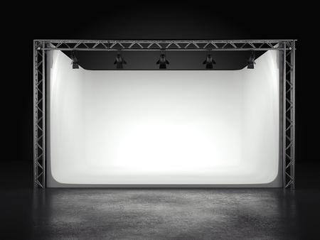Professional photostudio with spotlights. 3d rendering