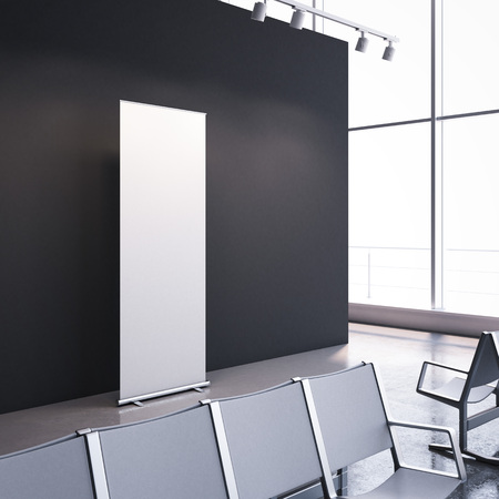 Waiting room with empty vertical banner. 3d rendering