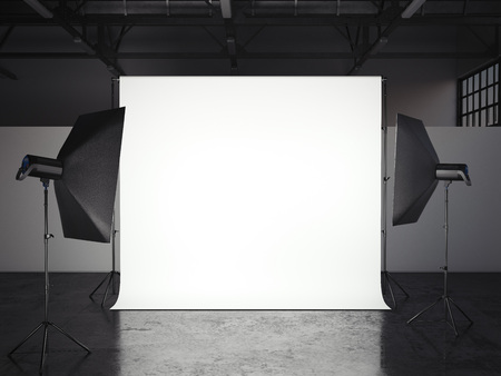Small photostudio. 3d rendering Stok Fotoğraf