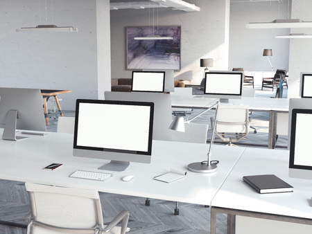 Coworking loft interior with computers. 3d rendering Фото со стока