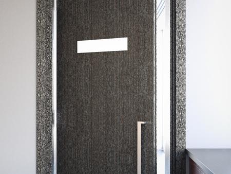 Opened door with nameplate. 3d rendering