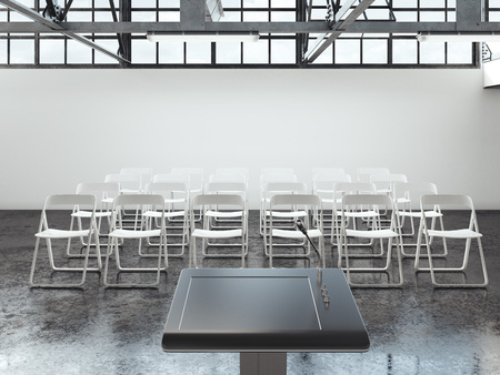 Bright lecture room with rostrum and microphone. 3d rendering