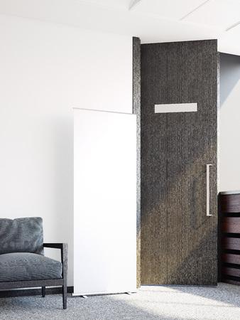 Heldere wachtkamer en witte banner. 3D-rendering