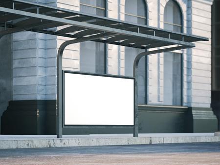 Bus stop with old billboard. 3d rendering