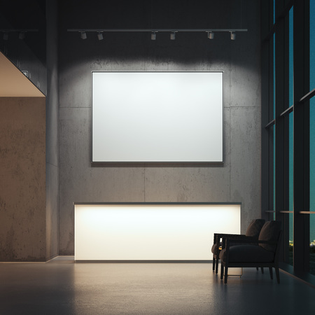 Hall with reception. 3d rendering Foto de archivo