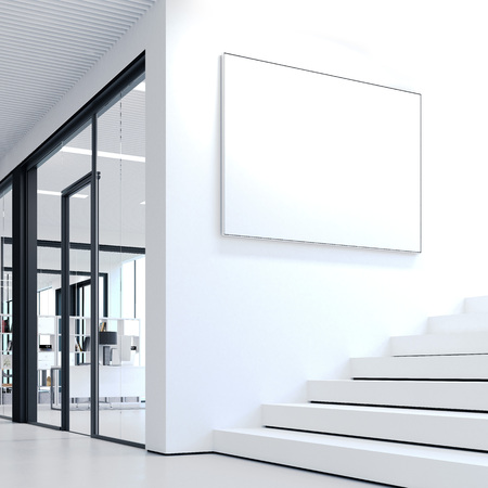 White steps in office and blank picture frame. 3d rendering