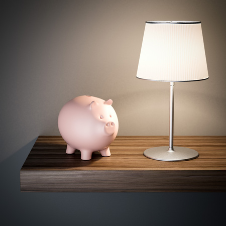 Pink piggy bank on a shelf. 3d rendering Stock Photo