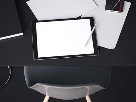 Bolígrafo grande negro para bocetos. Representación 3D Foto de archivo - 88372289