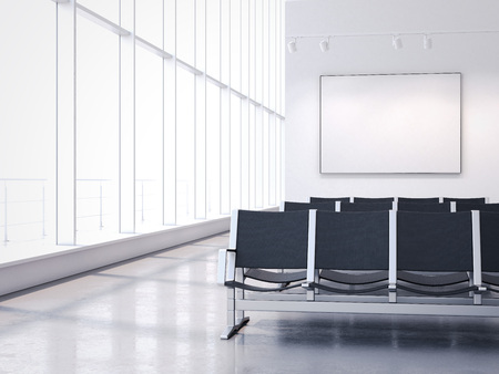 Waiting room with empty banner on the wall. 3d rendering Stock Photo