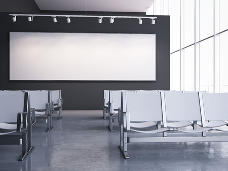 Waiting room with white armchairs and banner on the wall. 3d rendering