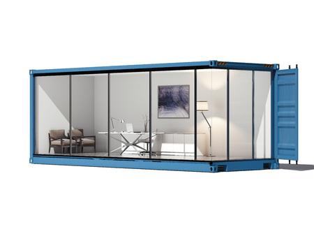 Cargo koneiner converted into an office. 3d rendering
