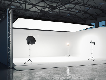 Photographic studio with several light sources. 3d rendering