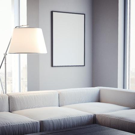 Woonkamer met lege omlijsting op de muur. 3D-rendering