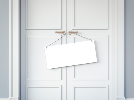 White doors and signboard on the handles. 3d rendering Stock Photo