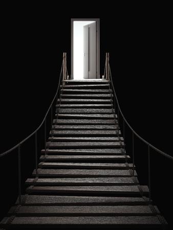 3 d レンダリング、橋の終わりの中の光とドアを開ける 写真素材