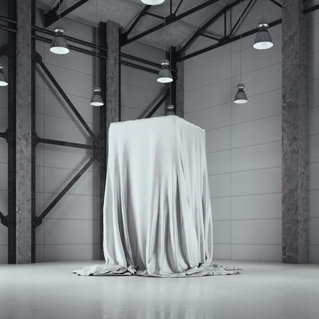 Hangar na poddaszu ze studiem fotograficznym i gablotą z tkaniny. Renderowanie 3d