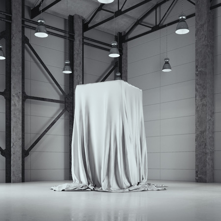 Loft hangar with photo studio and covered with cloth showcase. 3d rendering Фото со стока