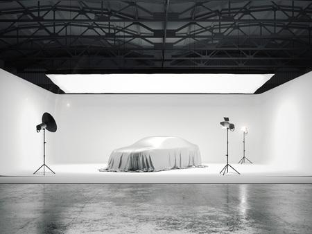 車と複数ライト ソース付き大型写真スタジオです。3 d レンダリング 写真素材
