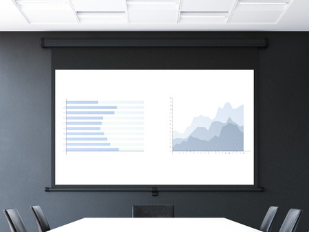Meeting room with roll-up projector screen. 3d rendering