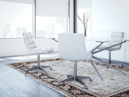 現代の首長は白い椅子を備えたオフィス。3d レンダリング 写真素材 - 89200306
