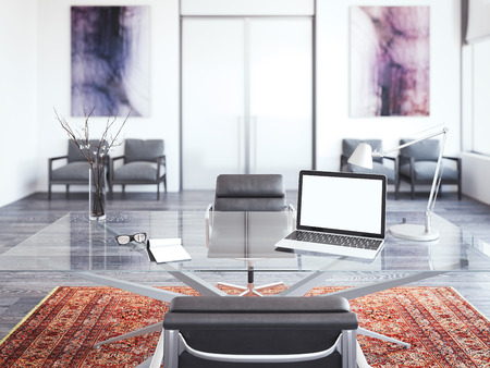 Table of chief with laptop. 3d rendering