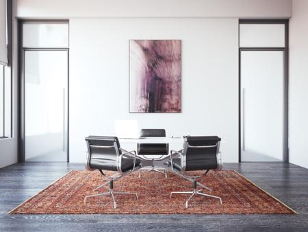 Two chairs opposite chiefs desk. 3d rendering Banco de Imagens