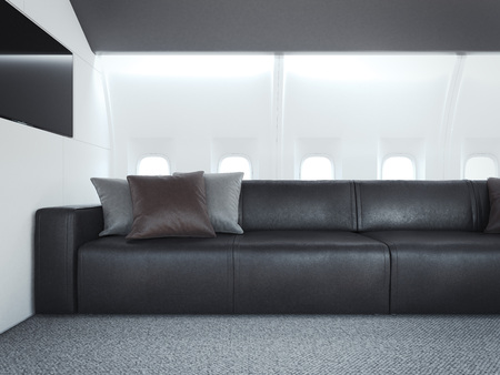 Comfortable sofa in a personal jet. 3d rendering Stock Photo